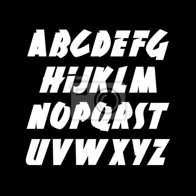 Hand drawn dynamic font. Editable vector alphabet