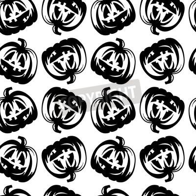 Fototapete Hand Drawn Halloween  pumpkin.  black white vector pattern