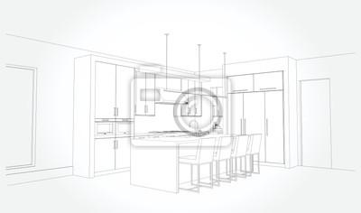 Fototapete Hand drawn kitchen furniture. Vector illustration in sketch style. vector illustration kitchen furniture and equipment.