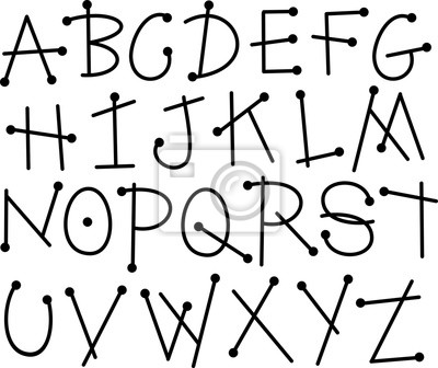 Hand drawn letters of the alphabet in black on a white background.