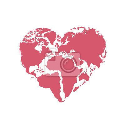 Fototapete: Hand drawn logo - background - heart-shaped world map