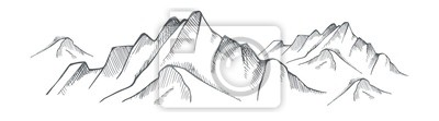 Fototapete Hand drawn mountain on a white background. Vector
