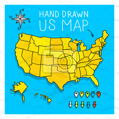 Hand drawn us map whith map pins vector illustration fototapete ...