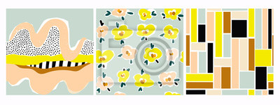Fototapete Hand drawn various shapes, flowers, lines, squares and doodle objects. Set of three abstract contemporary modern trendy vector seamless patterns. Perfect for textile prints. Every pattern is isolated