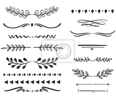 Fototapete Hand drawn vector dividers. Lines, borders and laurels set. Doodle design elements.