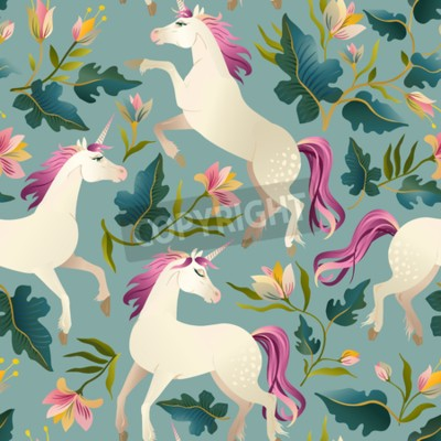 Fototapete Hand drawn vintage Unicorn in magic forest seamless pattern. Vector illustration.