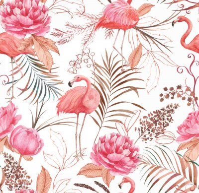 Fototapete Hand drawn watercolor seamless pattern with pink flamingo, peony and decorative plants. Repeat background illustration