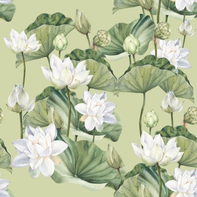 Fototapete Hand drawn watercolor seamless pattern with white lotus flowers and lotus leaf