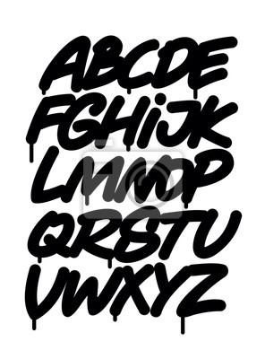 Hand geschrieben graffiti font alphabet. Vektor