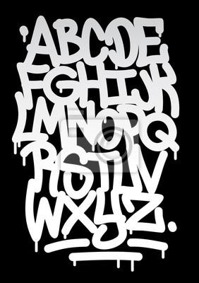 Hand geschrieben Graffiti-Schriftart Alphabet. Vektor