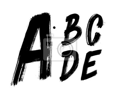 Hand geschrieben Pinsel Schriftart Alphabet. Detaillierte Vektor-