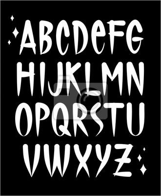 Hand geschrieben Tattoo-Schriftart. Vector Alphabet