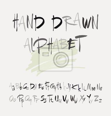 Fototapete Hand gezeichnet Alphabet im Retro-Stil. ABC für Ihr Design. Buchstaben des Alphabets mit einem Pinsel geschrieben.