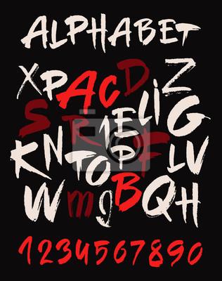 Fototapete Hand gezeichnet Alphabet im Retro-Stil. ABC für Ihr Design. Buchstaben des Alphabets mit einem Pinsel geschrieben. Dunklen Hintergrund.