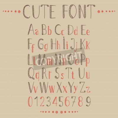 Fototapete Hand gezeichnet Alphabet im Retro-Stil. ABC für Ihr Design. Einfach zu bedienen und zu bearbeiten Buchstaben.