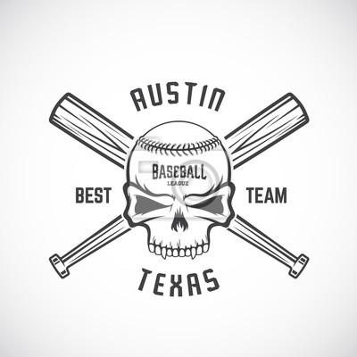 Hand gezeichnet baseball team logo vorlage. schädel und gekreuzte ...