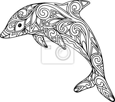 Hand gezeichnet doodle delphin illustration für malbuch fototapete ...