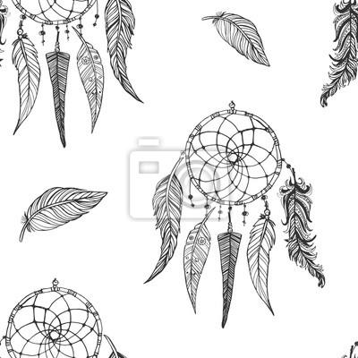 Hand Gezeichnet Doodle Nahtlose Muster Indische Traumfänger