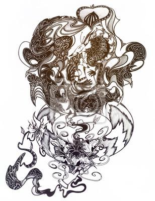 Hand gezeichnet doodle outline füchse mit ornamenten verziert ...