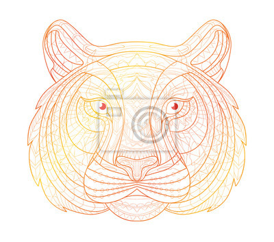Hand gezeichnet doodle outline tiger-illustration. dekorative ...