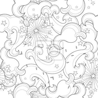 Hand gezeichnet doodle outline wolke nahtlose pattern.vector ...