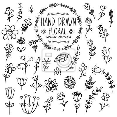 Hand gezeichnet floral Elemente für Ihr Design. Blumen, Kräuter und Blätter im Doodle-Stil isoliert auf weißem Hintergrund. Abbildung