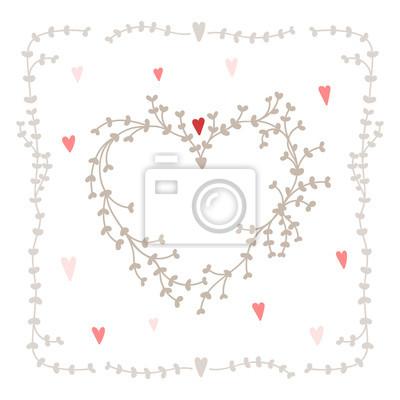 Hand gezeichnet Herzform Kranz mit Herzen