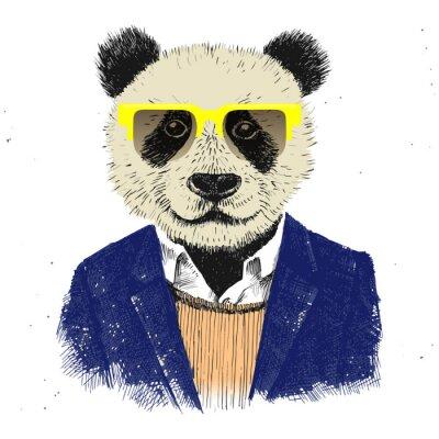 Fototapete Hand gezeichnet hipster panda verkleidet