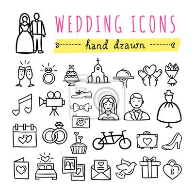 Hand Gezeichnet Hochzeit Symbole Ehe Braut Und Brautigam