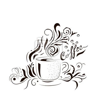 Hand Gezeichnet Kaffeetasse Mit Blumen Design Elemente Fototapete