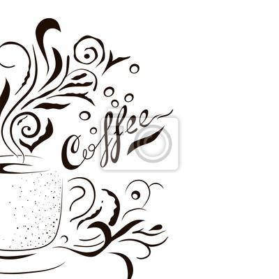 Hand Gezeichnet Kaffeetasse Mit Blumen Design Elemente Skizze