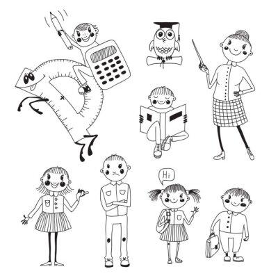 Fototapete Hand gezeichnet Lehrer und Schulkinder.