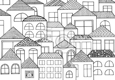 Hand Gezeichnet Mit Tinte Hintergrund Mit Einer Menge Von Häusern