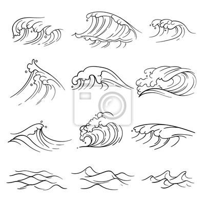 Hand gezeichnet ozean wellen vektor-set. meer sturm welle isoliert ...