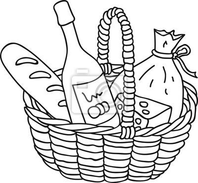 Hand gezeichnet picknick-korb mit essen, wein, käse, baguette ...