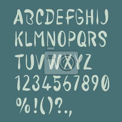 Hand gezeichnet Pinsel Alphabet. Großbuchstaben, Zahlen, Interpunktion. Handgeschriebener Schriftart.