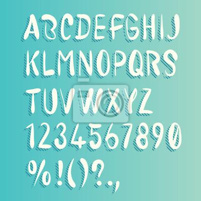 Hand gezeichnet Pinsel Alphabet. Schattenstreifen. Großbuchstaben, Zahlen