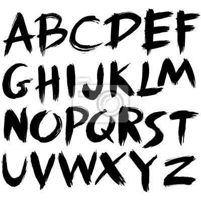 Hand gezeichnet Schriftart, Pinselstrich Alphabet, Grunge-Stil