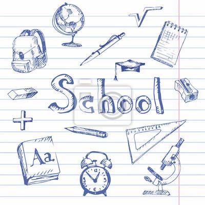 Hand gezeichnet schule produkte. notebook liniertes papier ...