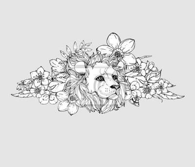 Hand gezeichnet tinte doodle löwe auf weißem hintergrund. malvorlage ...