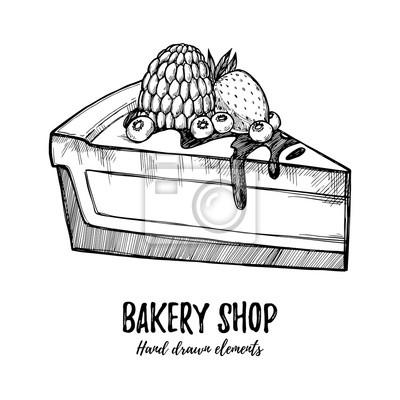 Hand Gezeichnet Vektor Illustration Susse Kuchen Mit Himbeere