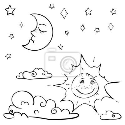 Hand gezeichnet vektor kinder malbuch mit mond, sonne, wolke ...