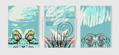 Fototapete Hand Gezeichnet Vektor Tropische Karten Set Sammlung Mit  Sukkulenten Und Kaktus Pflanzen. Skandinavischen Stil