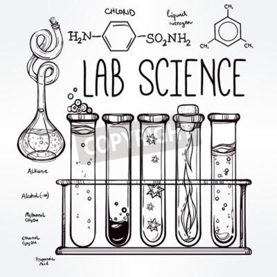 Hand gezeichnet wissenschaft schöne vintage labor ikonen skizze ...