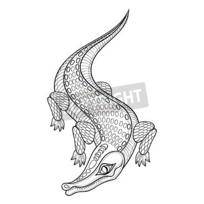 Hand gezeichnet zentangled crocodile für erwachsene malvorlagen ...