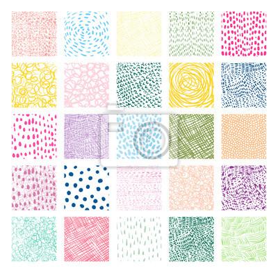 Fototapete Hand gezeichnete bunte quadratische Vektorbeschaffenheiten mit Linien, Punkten und Gekritzeln für Grafikdesign