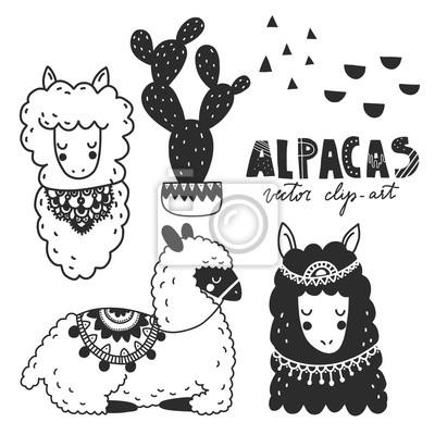 Fototapete Hand Gezeichnete Einfarbige Vektorillustration Lamas Oder Alpakas Skandinavischer Stil Fur Kinderzimmer Poster