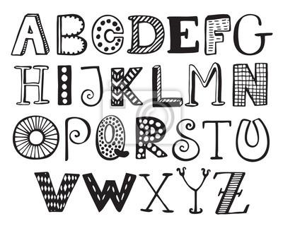 Hand gezeichnete fancy Alphabet, funny doodle Briefe