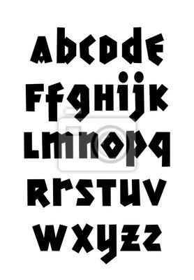 Hand gezeichnete gotische Schrift.  Bearbeitbares Vektoralphabet