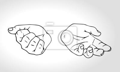 Hand gezeichnete Hände mit offenen Faust und in der Nähe der Faust